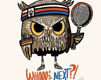 Whooo's Next 70's tennis Owl Blank Greeting Card