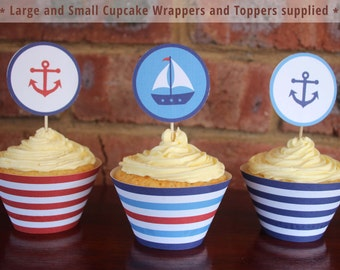 Nautical Cupcake Wrappers and Toppers - Nautical Baby Shower - Nautical Party - Print and Assemble yourself at home!