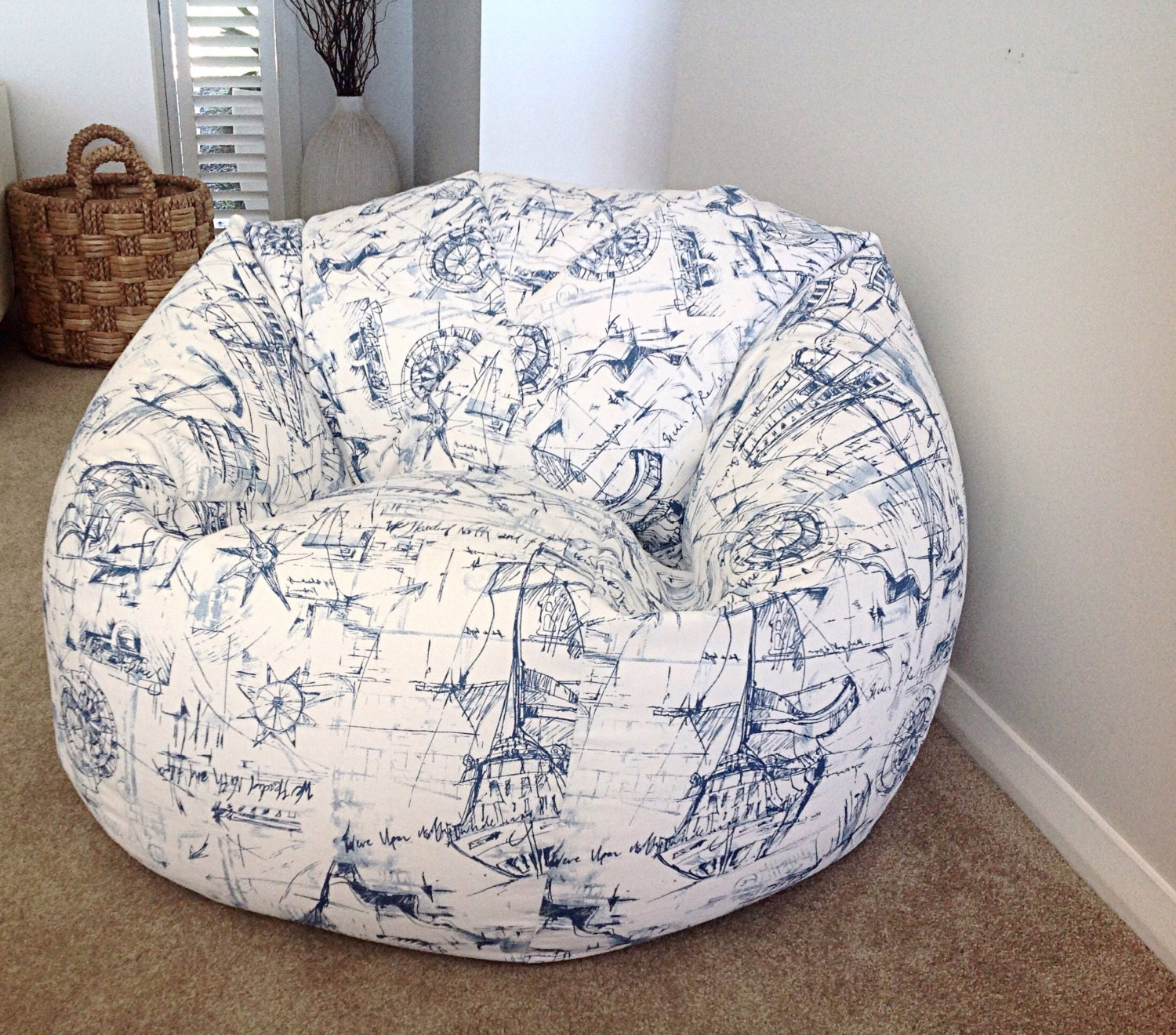 Nautical Bean Bag Blue And White Cover Kids Bags