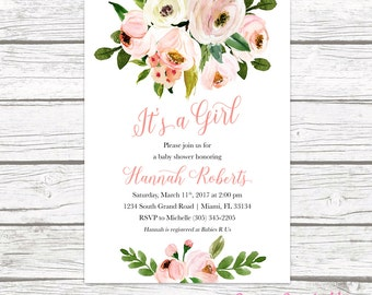 Rustic floral baby shower invitation garden boho flower its a girl baby shower invitation pink floral baby shower invitation garden baby shower filmwisefo Images