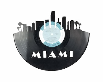 Miami Skyline Vinyl Record Art