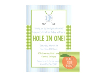 Birthday Party Invitation {Hole in ONE Golf Theme} Party Printable