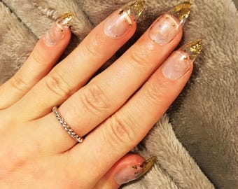 Gold Leaf Tipped Clear False Nails, Set of 20 Pretty Gold Leaf Nails