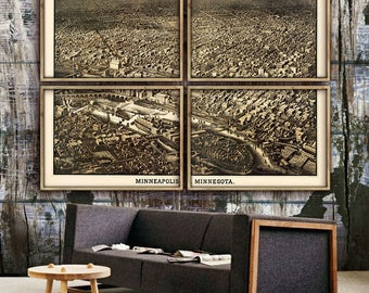 "Map of Minneapolis 1885, Old Minneapolis map in 5 sizes up to 72x48"" Minneapolis Minnesota in 1 or 4 parts - Limited Edition of 100"