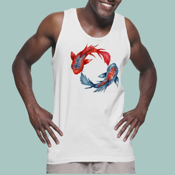 Yin Yang Koi Fish | American Apparel Fine Jersey Unisex Graphic Tank Top | Original Artwork | Watercolor art | Japanese Carp art | ZuskaArt
