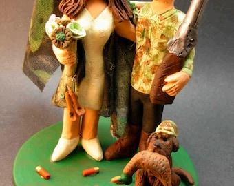 Redneck Wedding Cake Topper, Camouflage Bride and Groom Wedding Cake Topper, Hunting Wedding Cake Topper, Redneck Wedding Cake Topper