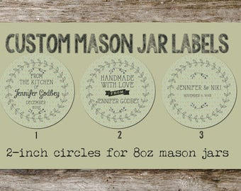 Handmade Vintage Style Custom Mason Jar Lid Labels from Curious London