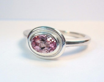 Simple Oval Light Pink Topaz Ring