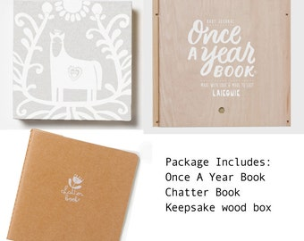 Once-A-Year Book White Horse design - Hand bound baby photo album keepsake & memory book, journal and first words notebook all in one.