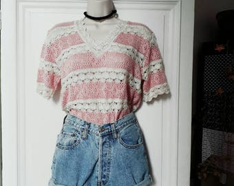 Vintage 70 white and pink crochet t-shirt