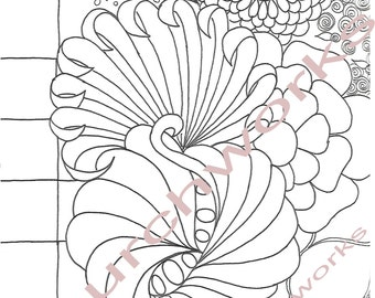 Digital Coloring Page Floral #3