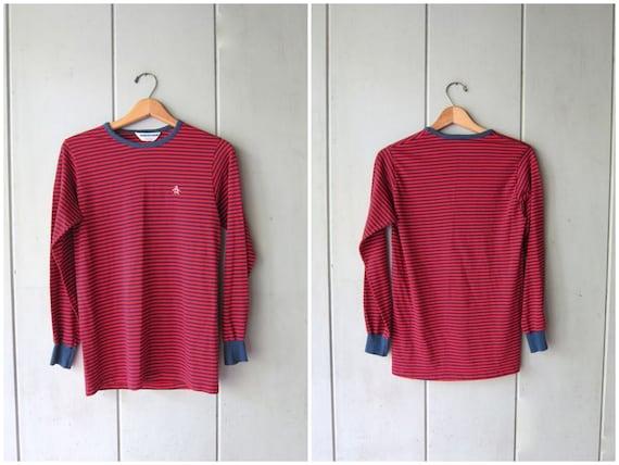 Basic 80s Striped Shirt Red Blue Shirt Long Sleeve Thermal Shirt Crewneck Simple Cotton Stretch Shirt Vintage Penguin Label Womens Medium