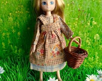 "2 Piece Vintage DOLL PRAIRIE DRESSES -perfect for 6-8"" dolls like Betsy McCall, Lesney Ginny Lottie, Mini American Girl, Miss Amanda Jane,"