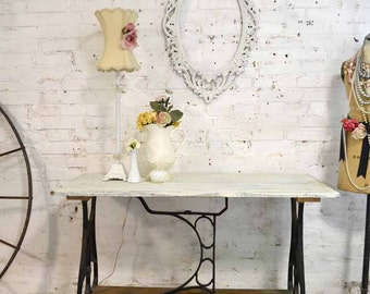 Farmhouse Table Painted Cottage Prairie Chic Sewing Machine Base Table