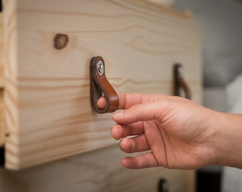 "Leather Drawer Pulls - The ""Hawthorne (Small)"" - Leather Cabinet Door Handles and Drawer Knobs"