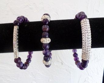 Amythest Rhinestone Bracelet