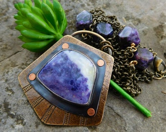 Mexican Purple opal | Morado opal Mixed Metal Necklace | Brass and Copper | Artisan metalwork necklace | stone statement necklace