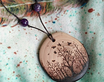 Forest necklace gift for her - tree forest jewelry nature lover gift -  tree of life necklace mori girl - wooden jewelry rustic pendant Tree