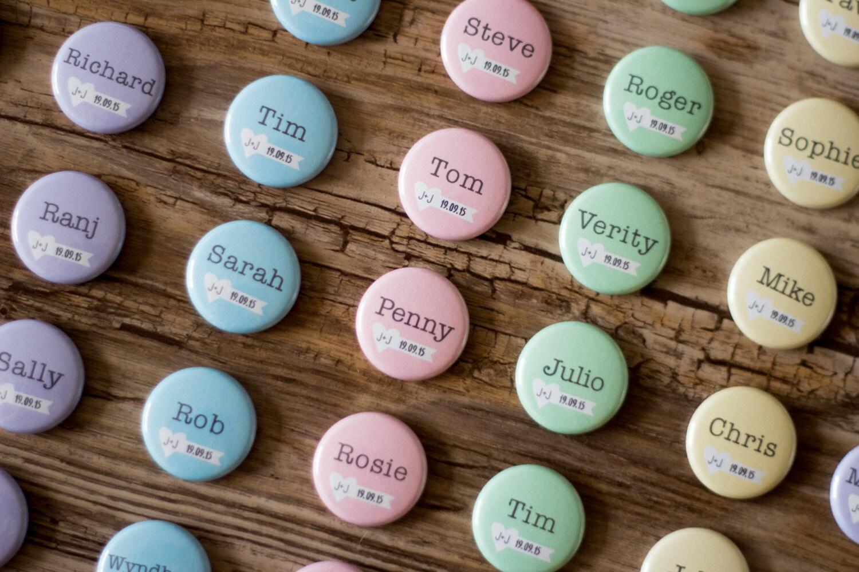escort card button wedding name tag custom pins place card. Black Bedroom Furniture Sets. Home Design Ideas