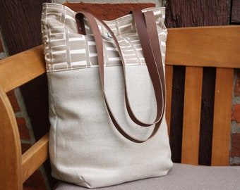 Linen bag with leather handles, fabric bag, graphic pattern