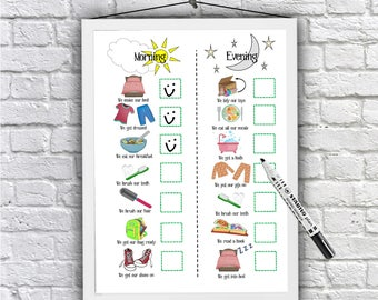 Kid's, Morning and Evening, Routine Chart, printable, toddlers, visual schedule, checklist, family organisation, kids planner, Autism