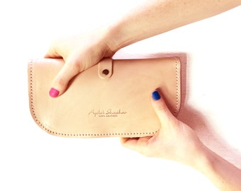 nude leather wallet for a women - full grain leather purse - women's wallet - women's purse
