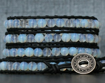 READY TO SHIP moonstone bracelet- opalite glass beads on black leather - opal - boho gypsy bohemian beach yoga