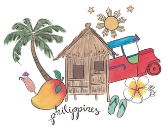 Philippines Love illustration - instant download print