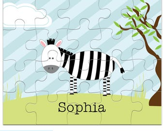 Zebra Puzzle - Personalized Puzzle for Kids - Jigsaw Puzzle - 20 pieces, 8 x 10 inches, Custom Puzzle with your child's name