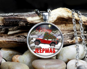 Jeep Wrangler Holiday Theme Pendant Necklace Set - Merry Jeepmas - Your choice of Jeep colors
