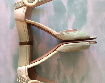 PRADA Varnished Leather Sandals / Made in Italy/ Size EUR 37- US 6,5