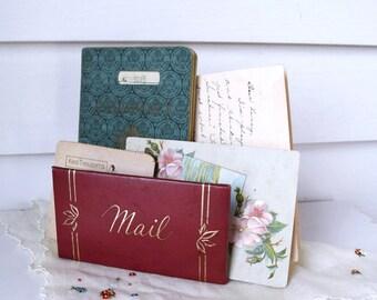 Vintage Mail Holder  Faux Leather Letter Holder