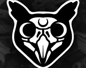 Owl Skull Die Cut Vinyl Sticker