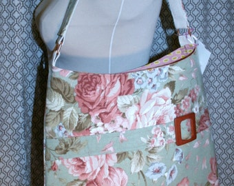 Shabby Chic Floral Fabric Tote Bag, Commuter Bag, Fabric Work Tote Bag - Chelsea Bag