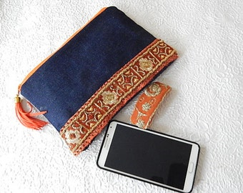 Denim purse, beaded purse,  rust beaded pouch, fabric purse, zippered pouch, fashion accessory, womens accessory