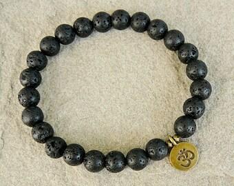 Black Lava bracelet for men Om bracelets Beaded Om bracelet Meditation Yoga bracelet Lava Rock bracelets Men bead Om charm bracelet for him