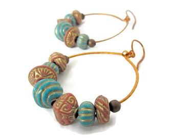 Boho hoop earrings, gypsy hammered copper hoop earrings, ethnic tribal copper hoops earrings, African inspired earrings, hippie earrings