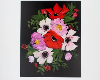 Painted Florals - Peonies & Anemones on Black - Floral Print  - 8 x 10