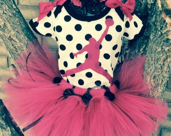 Michael Jordan inspired polka-dotted inspired Tutu Outfit 12-18 months Jump Man Costume