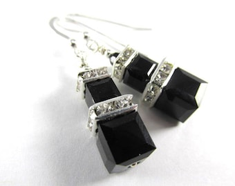 Swarovski Jet Black Double Stack Square Cube Earrings on Sterling Silver Earring Wires
