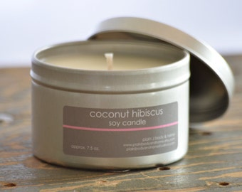 Coconut Hibiscus Soy Candle Tin 8 oz. - tropical soy candle - summer soy candle - coconut candle - spa candle