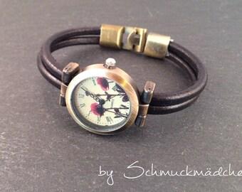 Watch leather bronze black poppy