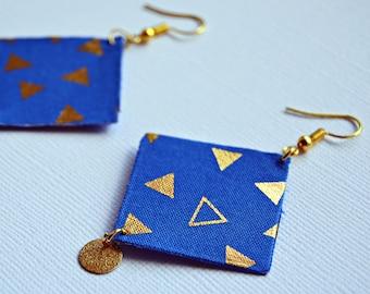 fabric jewelry, geometric gold patterns, diamond earrings dramatic geometric jewelry, fabric, Bohemian