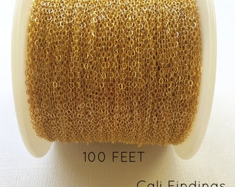 14K Gold Fill Chain - 100 FEET - Flat Cable Chain 1.3mm, Bulk Gold Cable Chain, Gold Chain, Gold Fill Chain, 100 Feet Gold Cable [4028]