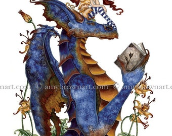 8.5x11 Book Club Dragon and fairy PRINT by Amy Brown