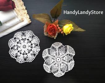 Crochet Cotton Doily Placemat Beige Round Handmade Tablemats