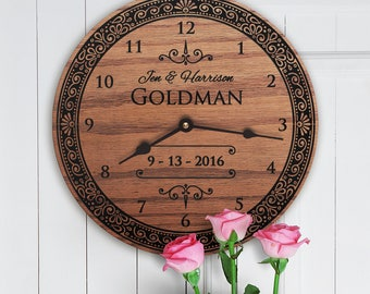 Wedding Gifts for Couple Personalized - Wedding Gifts for Couple Made of Wood - Wedding Gifts for Couple Clock - Engraved - Merry Adventure