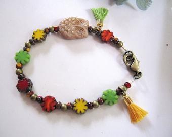 Owl Beaded Bracelet, Bohemian, Colorful, Czech Beaded Flowers, Yellow Tassel, Brass, Tribal, Bracelet, Boho, Everyday Wear