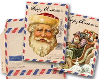 VINTAGE AIRMAIL PRINTABLE Two Christmas Cards and Envelope Vintage Santa Easy to print Magentabelle download 128