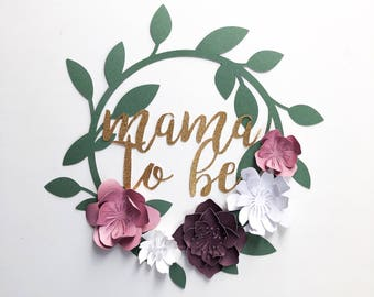Paper Flower Wreath Loop Mama to Be Spring Wedding Rifle Paper Co Modern Decor Baby Shower Nursery Bride Wedding Photo Booth. Photo Backdrop